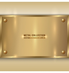 abstract metallic golden plate with screws on vector image