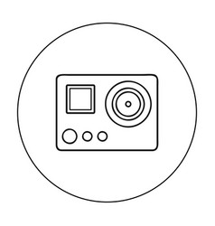 action camera icon in outline style isolated on vector image