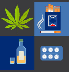 alcohol drugs and tobacco icons set vector image