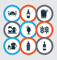 alcohol icons set with scotch bottle of wine vector image