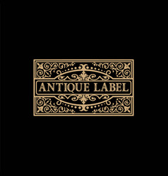antique label with floral details vector image