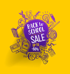 back to school sale on kids contour vector image