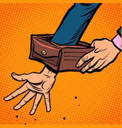 bankruptcy businessman empty wallet economic vector image