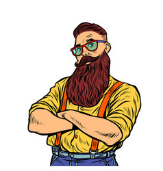 Bearded hipster with glasses isolate on white vector