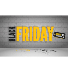 Black friday coming yellow banner template vector