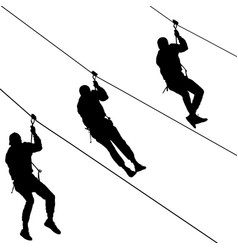 black set silhouette extreme rope descent vector image