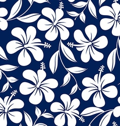 Blue and white tropical hibiscus flowers and vector image