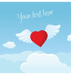 Bright Valentine s Day frame with flying heart vector image