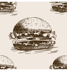 Burger sandwich sketch seamless pattern vector image