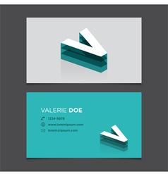 business card letter V vector image