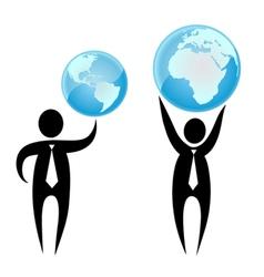 businessman holding a globe overhead vector image