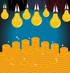 Businessmen with a light bulb head glow to the vector image