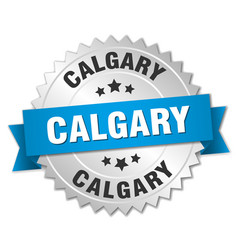 Calgary round silver badge with blue ribbon vector