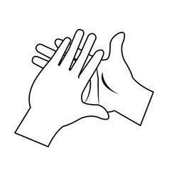 Cartoon man hands clap gesture vector