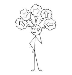 cartoon of businessman choosing right direction vector image
