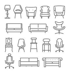 Chair armchair sofa thin line icons set isolated vector