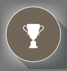 Champions cup sign white icon on brown vector
