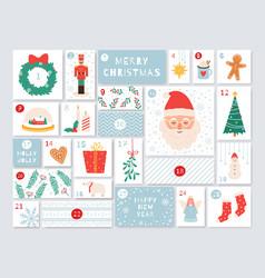 christmas advent calendar december days countdown vector image