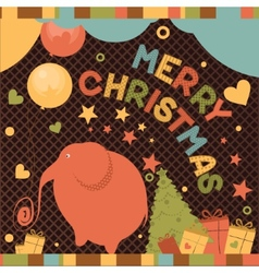Christmas card with elephant vector image
