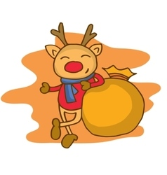 Christmas theme with reindeer character vector