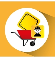 Construction worker wheelbarrow sign traffic vector