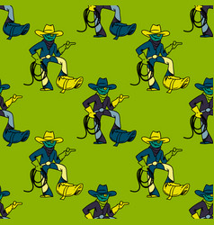 cool cowboy seamless pattern vector image