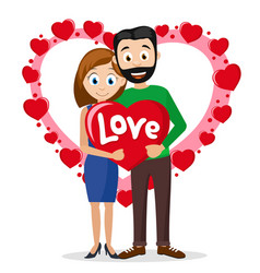 Couple in love a man and a woman holding a heart vector