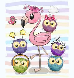 Cute cartoon flamingo and five owls vector