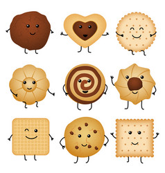 cute cartoon funny cookies bakery characters vector image