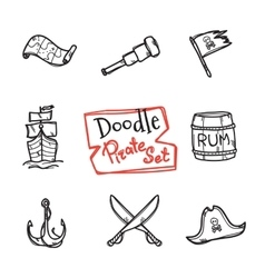 doodle pirate icons set Hand drawn vector image