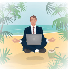 employee levitates in lotus pose on beach vector image