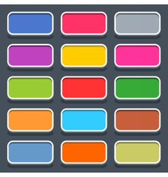 Flat blank web button rounded rectangle icon vector