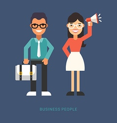 Flat Style Business People Cartoon Characters vector image