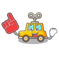 foam finger clockwork toy car isolated on mascot vector image