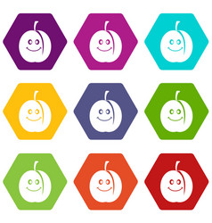 fresh smiling apricot icon set color hexahedron vector image