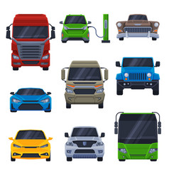 front view various vehicles collection car vector image
