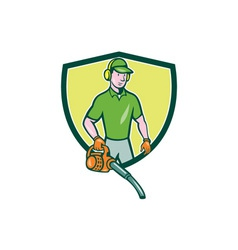 Gardener Landscaper Leaf Blower Crest Cartoon vector