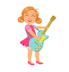girl playing electric guitar kid performing on vector image