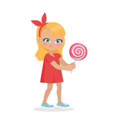 Girl with long hair and red bow on head suck candy vector