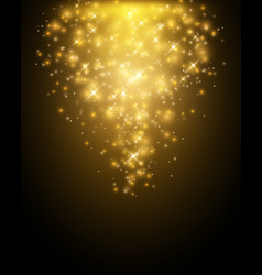 golden particles falling down on dark background vector image