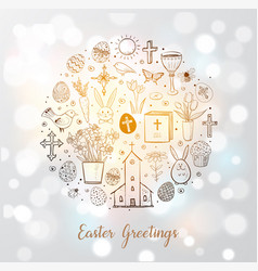 greeting card with easter doodles in circle on vector image