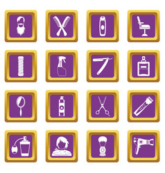 hairdressing icons set purple vector image