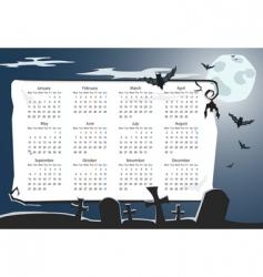 halloween calendar with cemetery vector image vector image