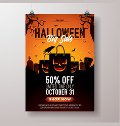 halloween sale flyer with vector image