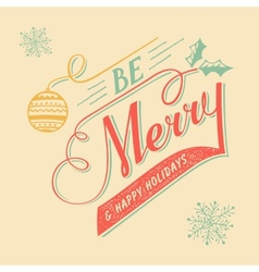 Hand-lettering Christmas greeting card vector