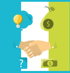 hands with business project to company finance vector image
