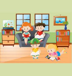 Happy children reading books in room vector