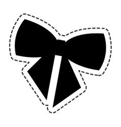 Happy merry christmas bow ribbon card vector