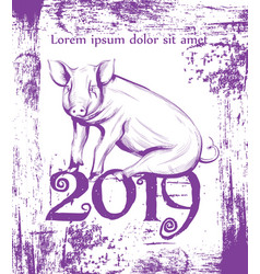 happy new year pig symbol line art vintage vector image
