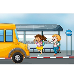 Happy passengers at the bus station vector